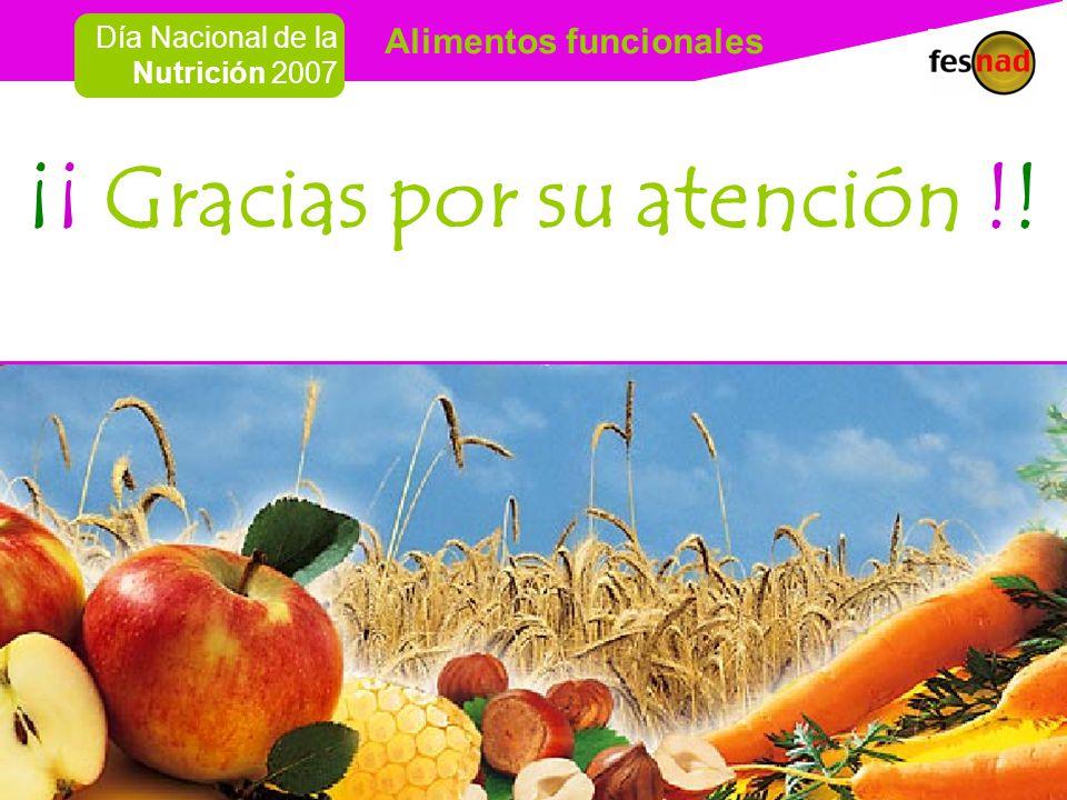 Alimentos funcionales Día Nacional de la Nutrición 2007 ¡¡ Gracias por su atención !!