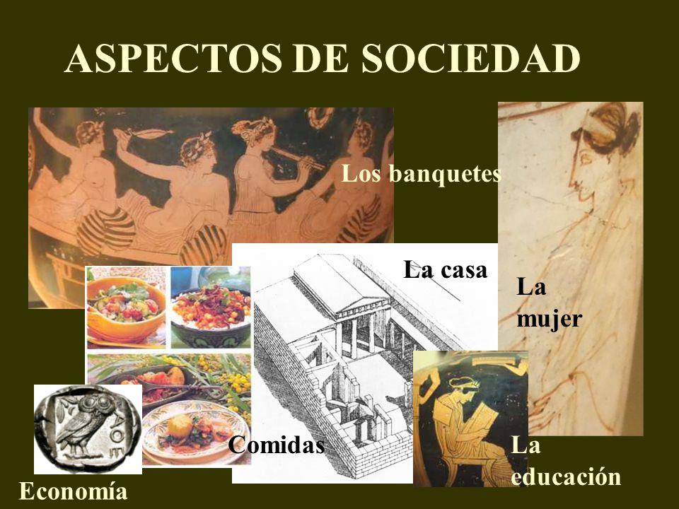 ASPECTOS DE SOCIEDAD La mujer Los banquetes La casa ComidasLa educación Economía