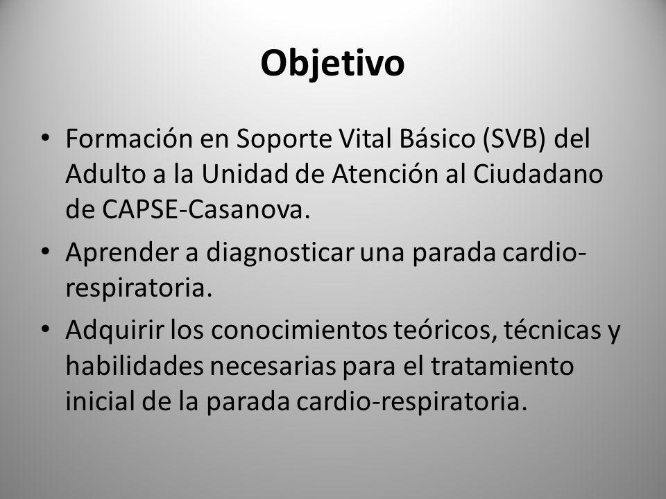 Objetivo Formación en Soporte Vital Básico (SVB) del Adulto a la Unidad de Atención al Ciudadano de CAPSE-Casanova. Aprender a diagnosticar una parada