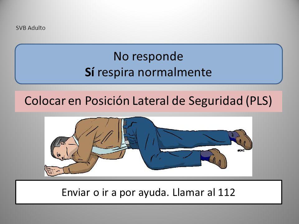 SVB Adulto Colocar en Posición Lateral de Seguridad (PLS) No responde Sí respira normalmente Enviar o ir a por ayuda. Llamar al 112