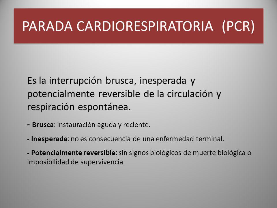 PARADA CARDIORESPIRATORIA (PCR) Es la interrupción brusca, inesperada y potencialmente reversible de la circulación y respiración espontánea. - Brusca