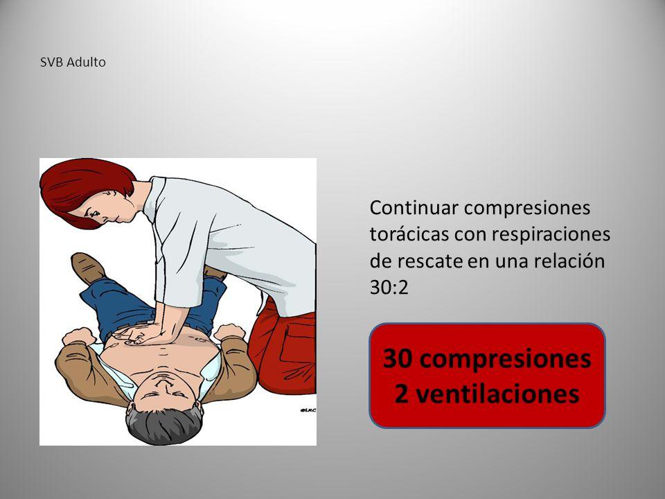 SVB Adulto Continuar compresiones torácicas con respiraciones de rescate en una relación 30:2 30 compresiones 2 ventilaciones