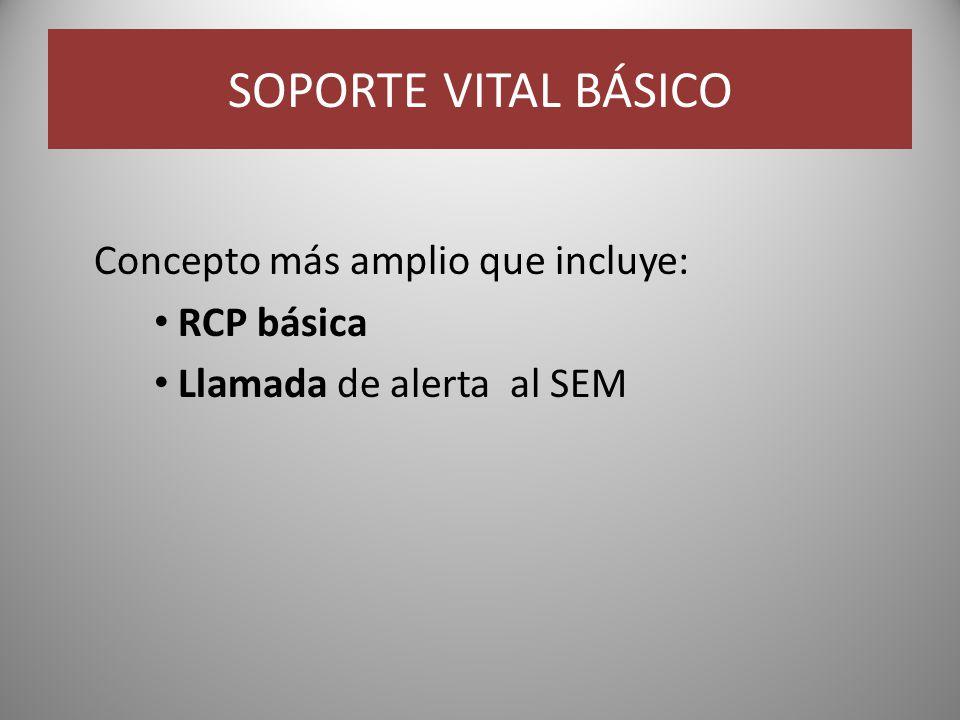 SOPORTE VITAL BÁSICO Concepto más amplio que incluye: RCP básica Llamada de alerta al SEM