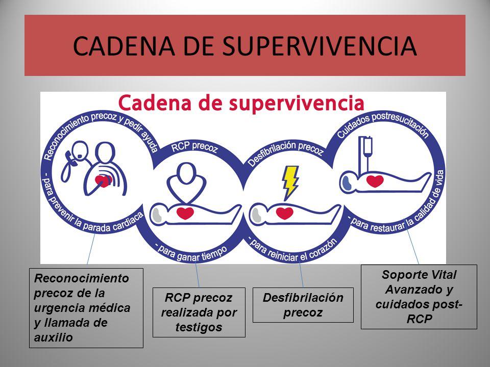 CADENA DE SUPERVIVENCIA Reconocimiento precoz de la urgencia médica y llamada de auxilio RCP precoz realizada por testigos Desfibrilación precoz Sopor