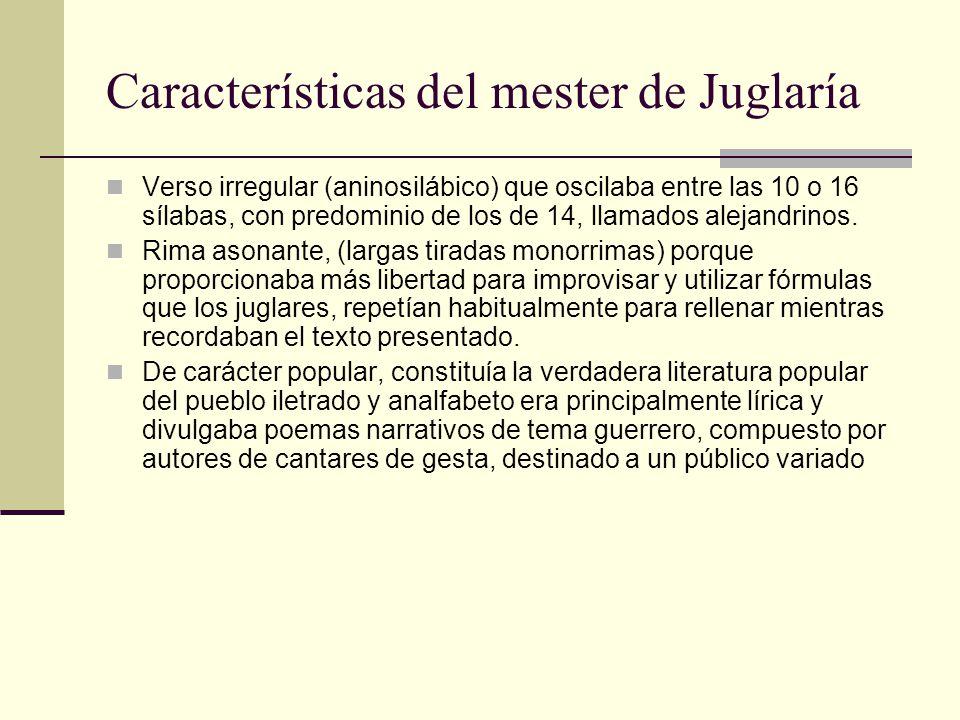 Características del mester de Juglaría Verso irregular (aninosilábico) que oscilaba entre las 10 o 16 sílabas, con predominio de los de 14, llamados a