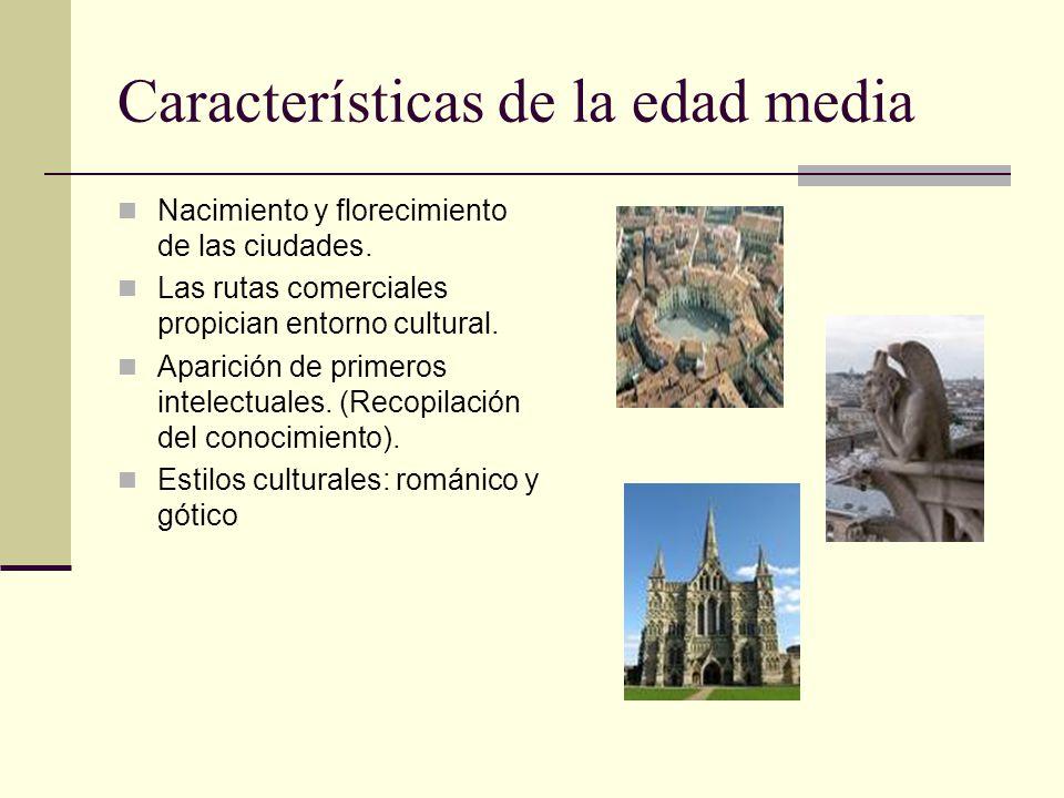 Características de la edad media Nacimiento y florecimiento de las ciudades. Las rutas comerciales propician entorno cultural. Aparición de primeros i