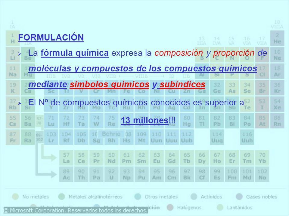 La fórmula química expresa la composición y proporción de moléculas y compuestos de los compuestos químicos mediante símbolos químicos y subíndices El Nº de compuestos químicos conocidos es superior a 13 millones!!.