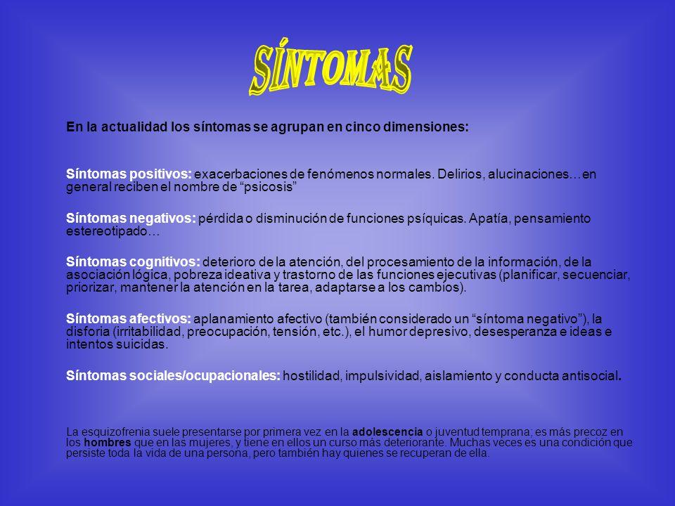 En la actualidad los síntomas se agrupan en cinco dimensiones: Síntomas positivos: exacerbaciones de fenómenos normales. Delirios, alucinaciones…en ge