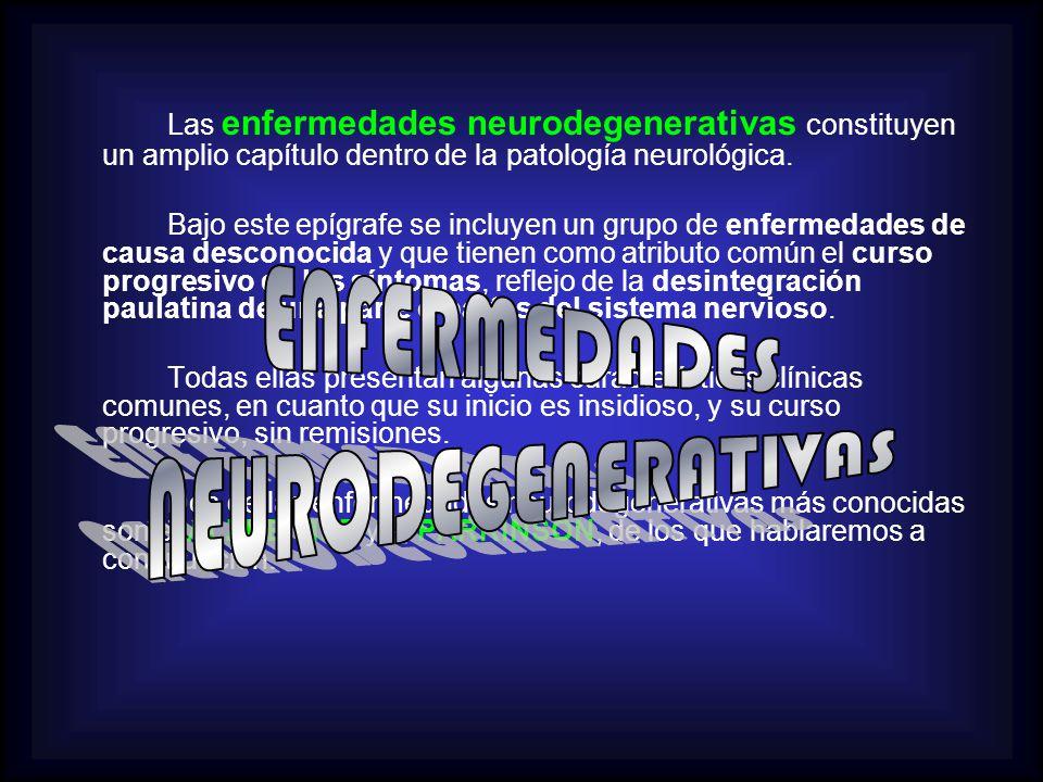 Las enfermedades neurodegenerativas constituyen un amplio capítulo dentro de la patología neurológica. Bajo este epígrafe se incluyen un grupo de enfe