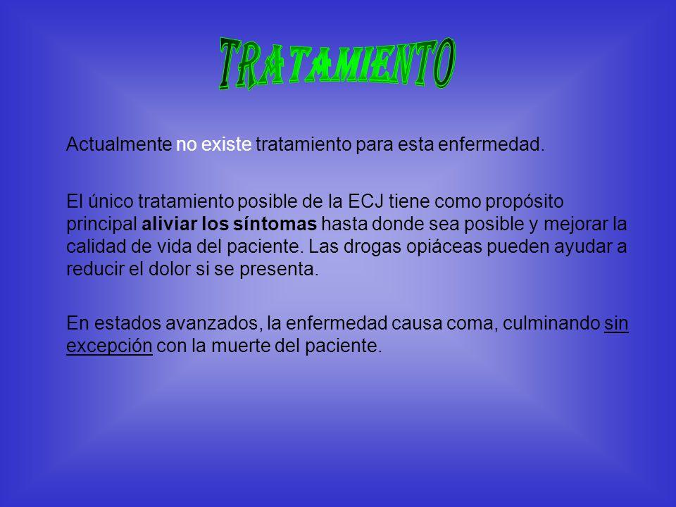 Actualmente no existe tratamiento para esta enfermedad. El único tratamiento posible de la ECJ tiene como propósito principal aliviar los síntomas has