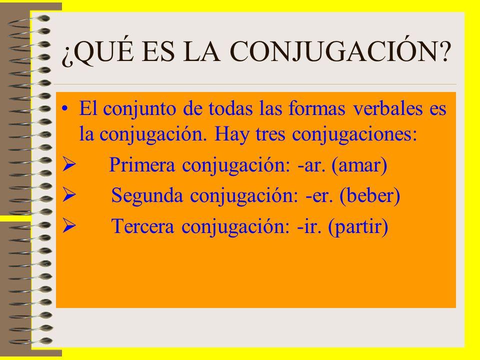 ¿QUÉ ES LA CONJUGACIÓN? El conjunto de todas las formas verbales es la conjugación. Hay tres conjugaciones: Primera conjugación: -ar. (amar) Segunda c
