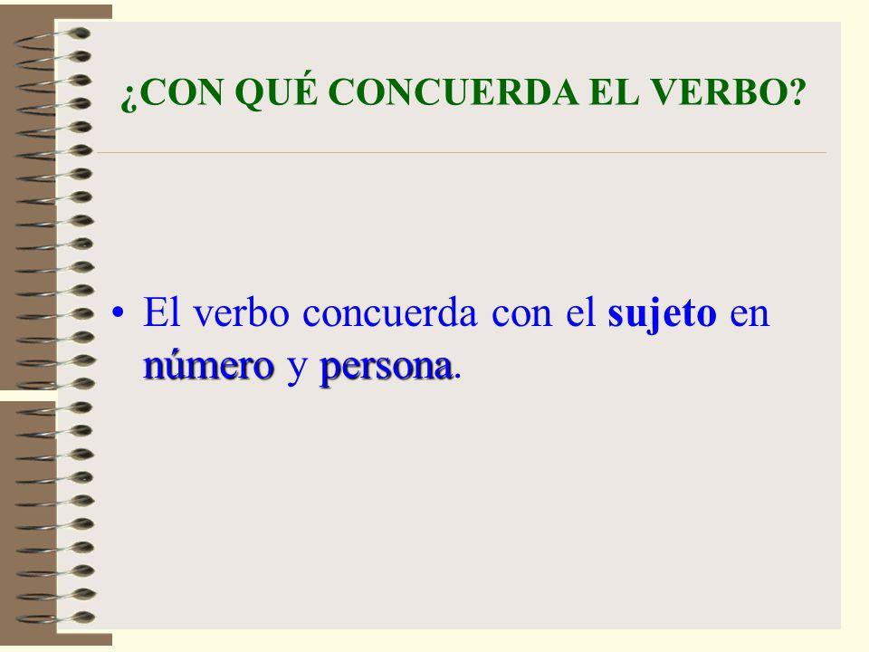 ¿CON QUÉ CONCUERDA EL VERBO? númeropersonaEl verbo concuerda con el sujeto en número y persona.