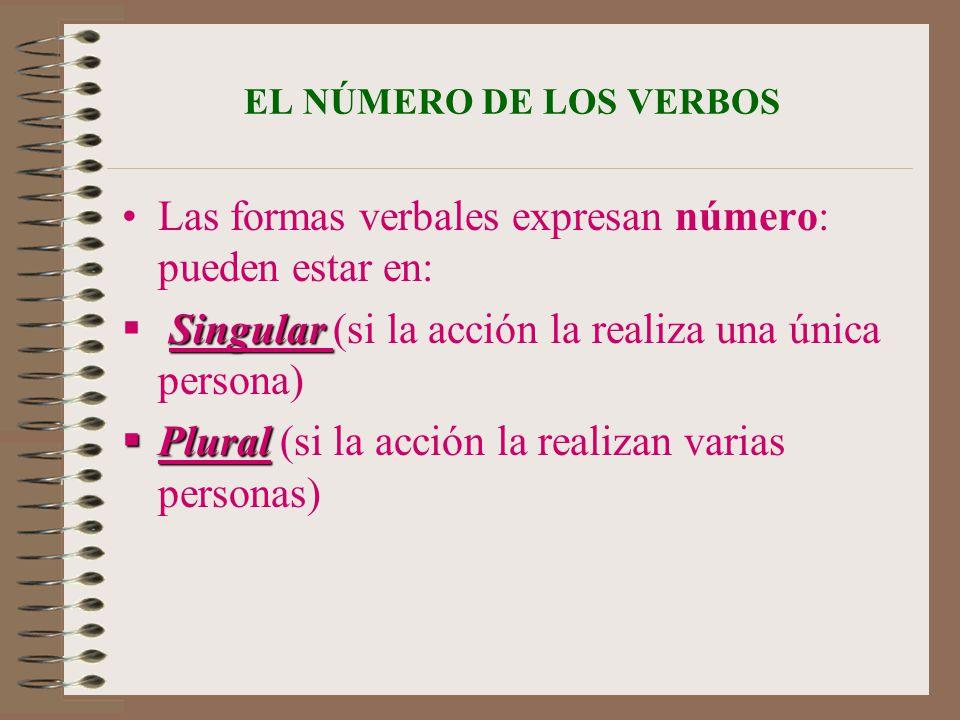 EL NÚMERO DE LOS VERBOS Las formas verbales expresan número: pueden estar en: Singular Singular (si la acción la realiza una única persona) Plural Plu