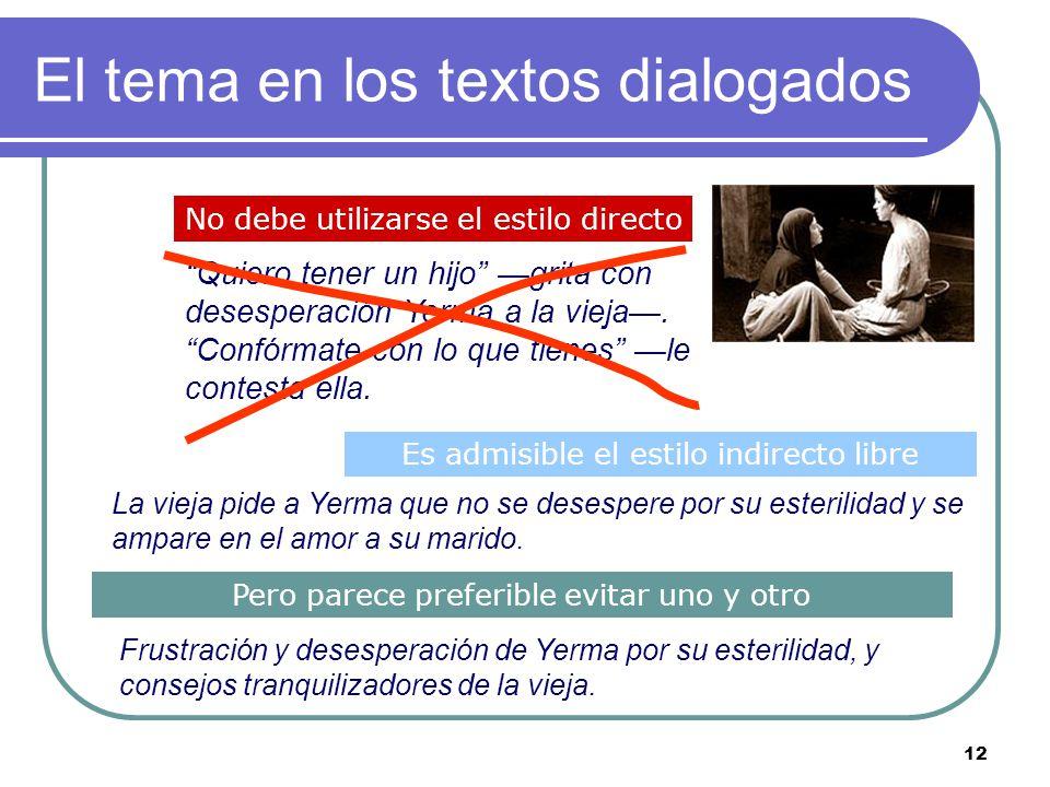 11 El tema en los textos descriptivos Una descripción literaria suele transmitir algo más: una sensación, un sentimiento, un estado de ánimo. El tema