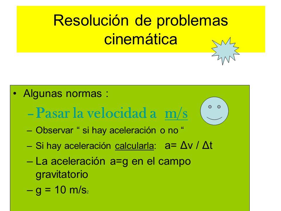 Resolución de problemas cinemática Algunas normas : –Pasar la velocidad a m/s –Observar si hay aceleración o no –Si hay aceleración calcularla: a= Δv / Δt –La aceleración a=g en el campo gravitatorio –g = 10 m/s 2
