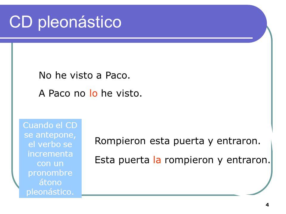 4 CD pleonástico No he visto a Paco. A Paco no lo he visto.