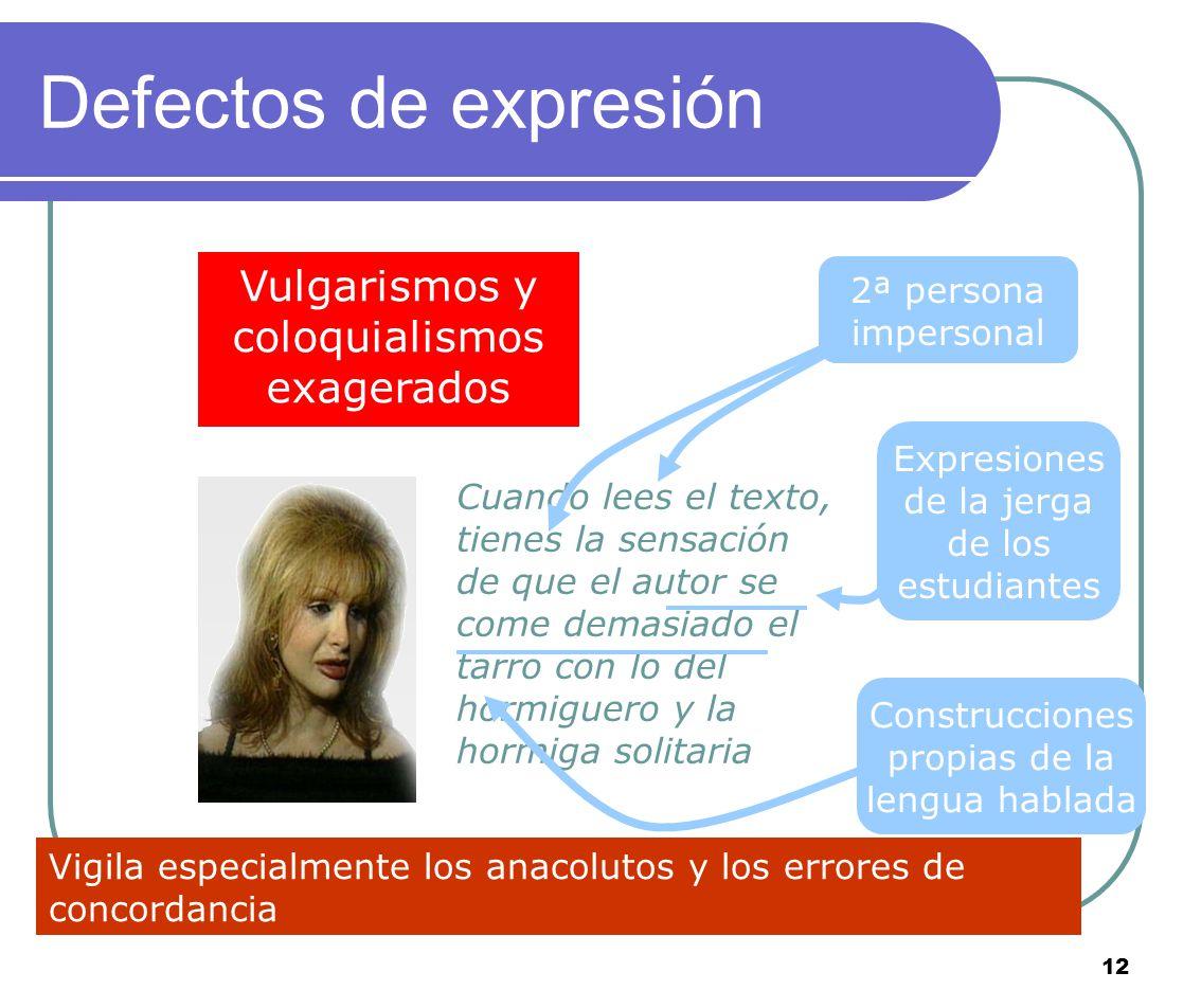 11 Defectos de expresión Es el inoportuno alarde de conocimientos, la inadecuación del discurso a la situación Es el inoportuno alarde de conocimiento