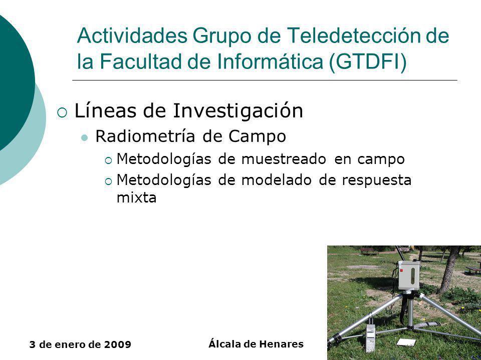 3 de enero de 2009 Álcala de Henares30 Actividades Grupo de Teledetección de la Facultad de Informática (GTDFI) Líneas de Investigación Radiometría de Campo Metodologías de muestreado en campo Metodologías de modelado de respuesta mixta