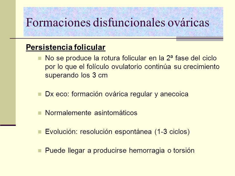 Formaciones disfuncionales ováricas Persistencia folicular No se produce la rotura folicular en la 2ª fase del ciclo por lo que el folículo ovulatorio
