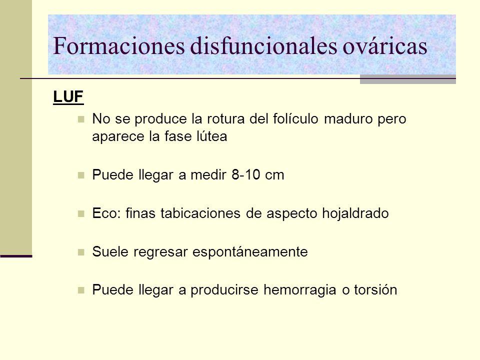 Formaciones disfuncionales ováricas LUF No se produce la rotura del folículo maduro pero aparece la fase lútea Puede llegar a medir 8-10 cm Eco: finas