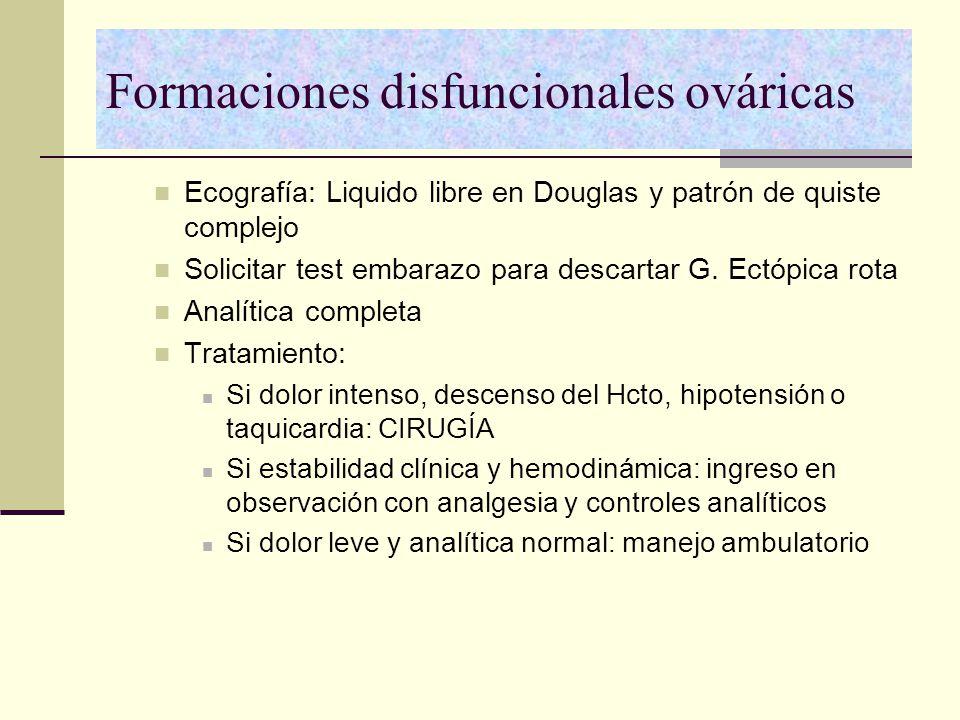 Formaciones disfuncionales ováricas Ecografía: Liquido libre en Douglas y patrón de quiste complejo Solicitar test embarazo para descartar G. Ectópica