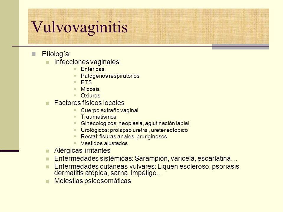 Vulvovaginitis Etiología: Infecciones vaginales: Entéricas Patógenos respiratorios ETS Micosis Oxiuros Factores físicos locales Cuerpo extraño vaginal