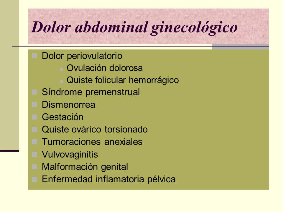 Dolor abdominal ginecológico Dolor periovulatorio Ovulación dolorosa Quiste folicular hemorrágico Síndrome premenstrual Dismenorrea Gestación Quiste o