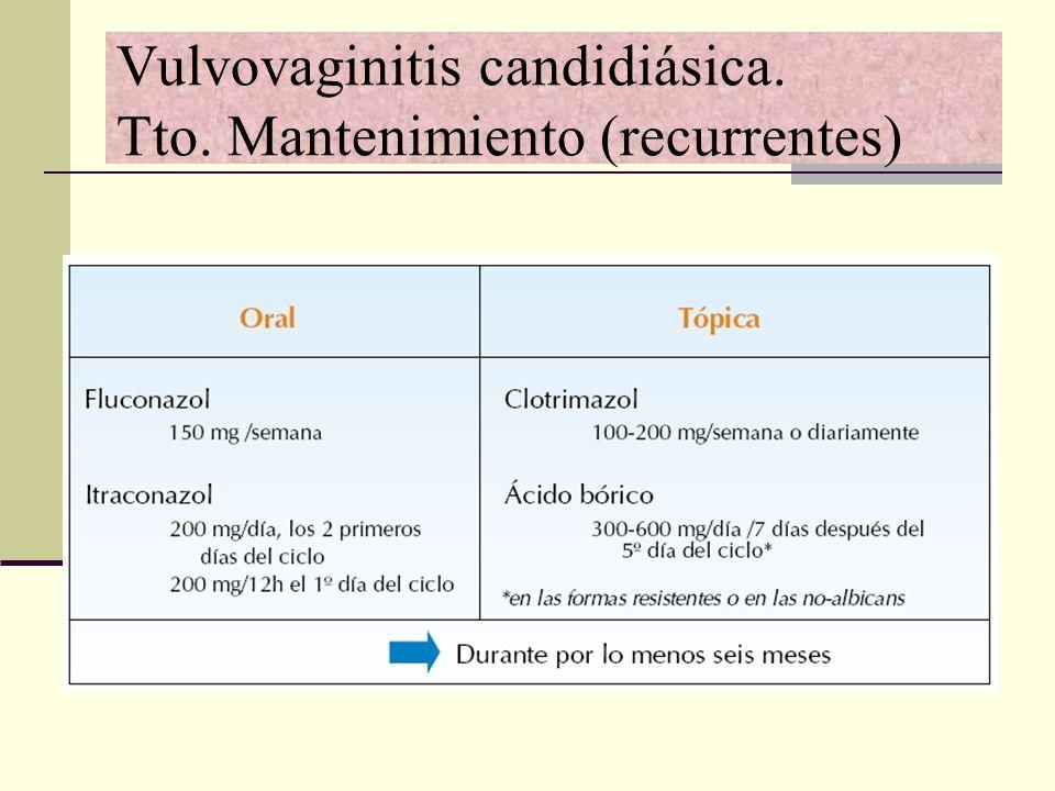 Vulvovaginitis candidiásica. Tto. Mantenimiento (recurrentes)