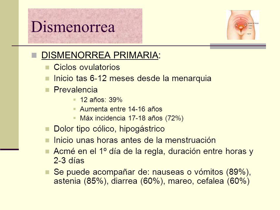Dismenorrea DISMENORREA PRIMARIA: Ciclos ovulatorios Inicio tas 6-12 meses desde la menarquia Prevalencia 12 años: 39% Aumenta entre 14-16 años Máx in
