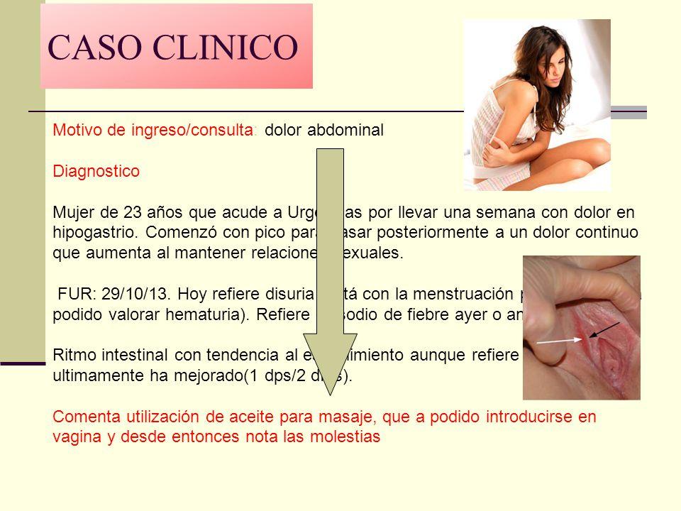 CASO CLINICO Motivo de ingreso/consulta: dolor abdominal Diagnostico Mujer de 23 años que acude a Urgencias por llevar una semana con dolor en hipogas
