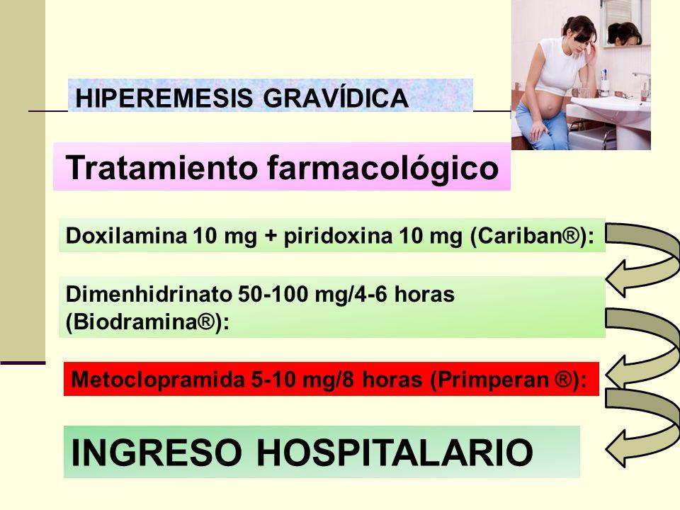HIPEREMESIS GRAVÍDICA Tratamiento farmacológico Doxilamina 10 mg + piridoxina 10 mg (Cariban®): Dimenhidrinato 50-100 mg/4-6 horas (Biodramina®): Meto