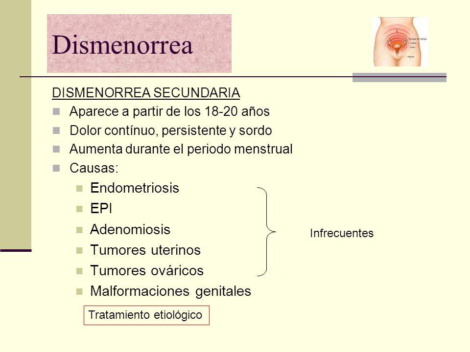 Dismenorrea DISMENORREA SECUNDARIA Aparece a partir de los 18-20 años Dolor contínuo, persistente y sordo Aumenta durante el periodo menstrual Causas: