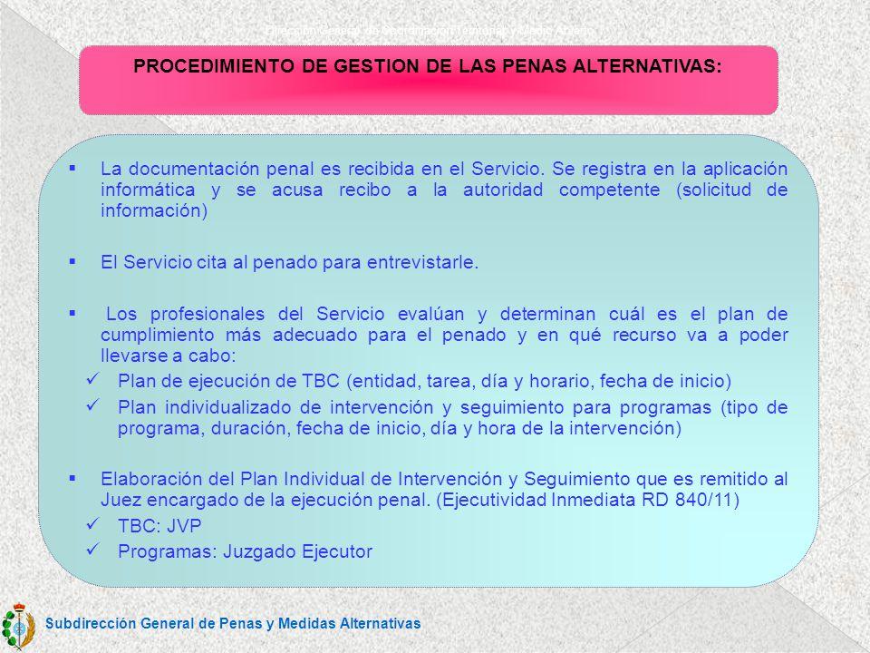 Dirección General de Coordinación Territorial y Medio Abierto PROCEDIMIENTO DE GESTION DE LAS PENAS ALTERNATIVAS: La documentación penal es recibida en el Servicio.