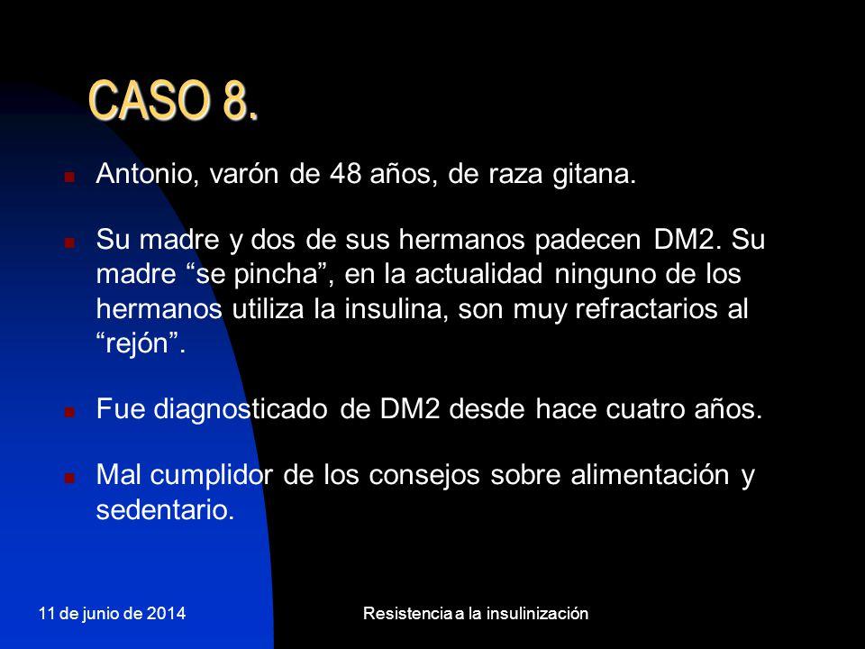 11 de junio de 2014Resistencia a la insulinización Antonio, varón de 48 años, de raza gitana. Su madre y dos de sus hermanos padecen DM2. Su madre se
