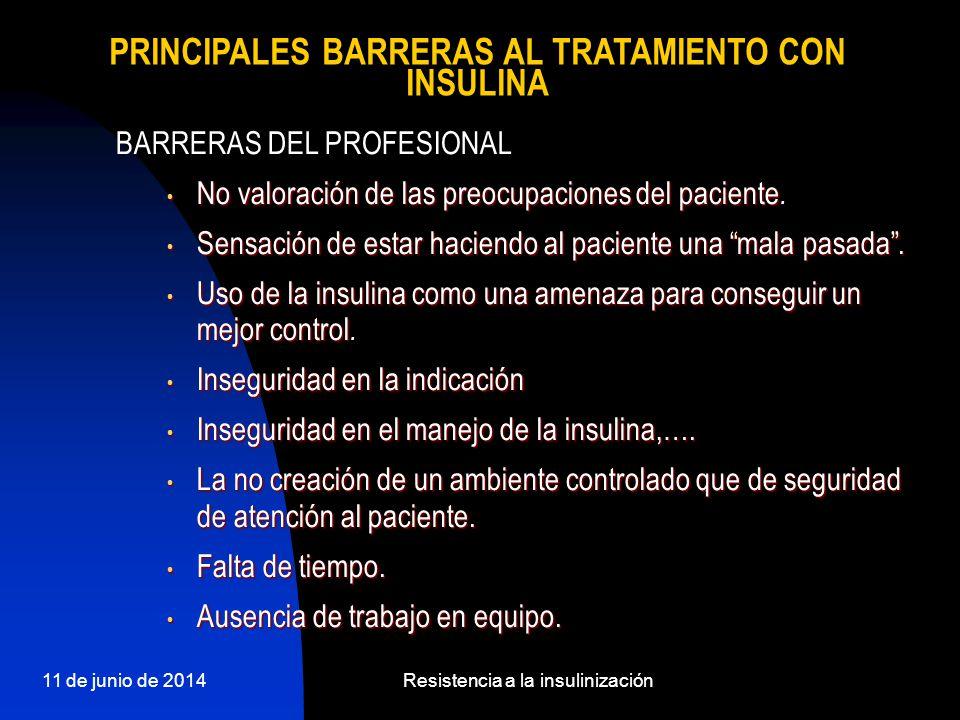 11 de junio de 2014Resistencia a la insulinización BARRERAS DEL PROFESIONAL No valoración de las preocupaciones del paciente No valoración de las preo