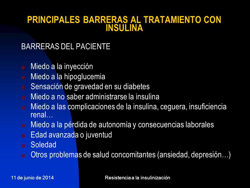11 de junio de 2014Resistencia a la insulinización PRINCIPALES BARRERAS AL TRATAMIENTO CON INSULINA BARRERAS DEL PACIENTE Miedo a la inyección Miedo a