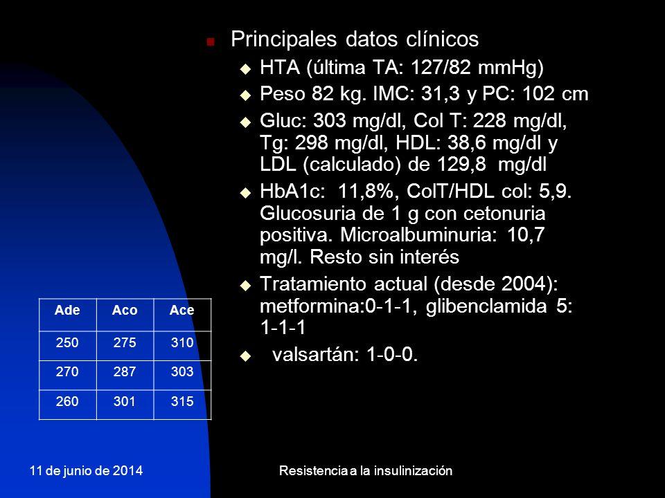 11 de junio de 2014Resistencia a la insulinización Principales datos clínicos HTA (última TA: 127/82 mmHg) Peso 82 kg. IMC: 31,3 y PC: 102 cm Gluc: 30