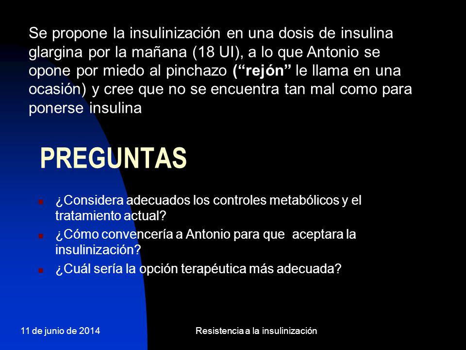 11 de junio de 2014Resistencia a la insulinización PREGUNTAS ¿Considera adecuados los controles metabólicos y el tratamiento actual? ¿Cómo convencería