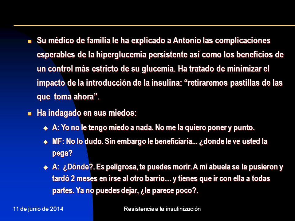 11 de junio de 2014Resistencia a la insulinización Su médico de familia le ha explicado a Antonio las complicaciones esperables de la hiperglucemia pe