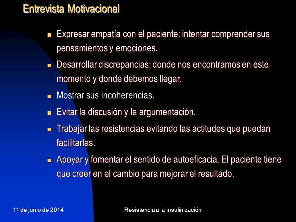 11 de junio de 2014Resistencia a la insulinización Entrevista Motivacional Expresar empatía con el paciente: intentar comprender sus pensamientos y em