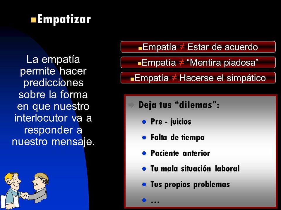La empatía permite hacer predicciones sobre la forma en que nuestro interlocutor va a responder a nuestro mensaje. Empatía Hacerse el simpático Empatí