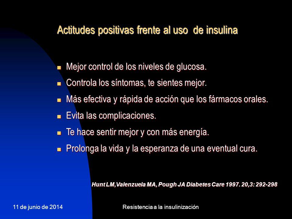 11 de junio de 2014Resistencia a la insulinización Actitudes positivas frente al uso de insulina Mejor control de los niveles de glucosa. Mejor contro