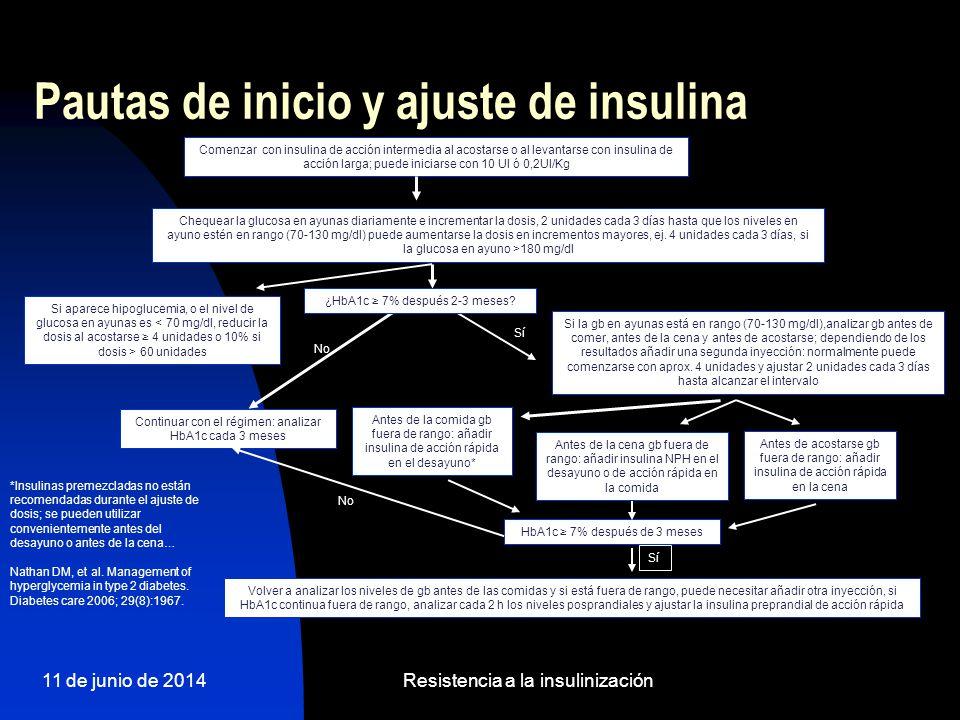 11 de junio de 2014Resistencia a la insulinización Pautas de inicio y ajuste de insulina Comenzar con insulina de acción intermedia al acostarse o al