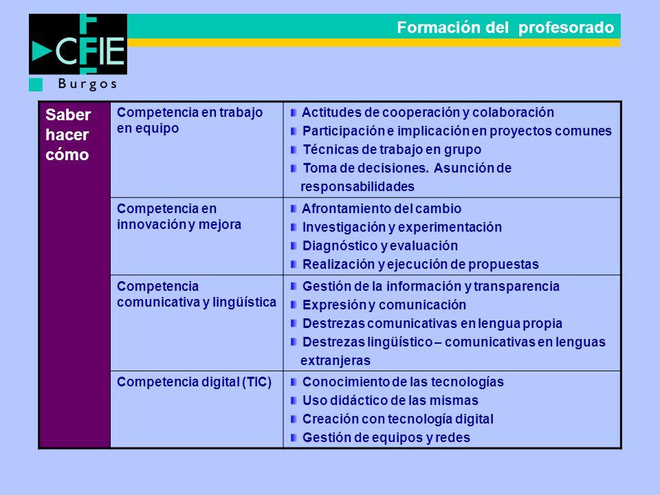 Saber hacer cómo Competencia en trabajo en equipo Actitudes de cooperación y colaboración Participación e implicación en proyectos comunes Técnicas de