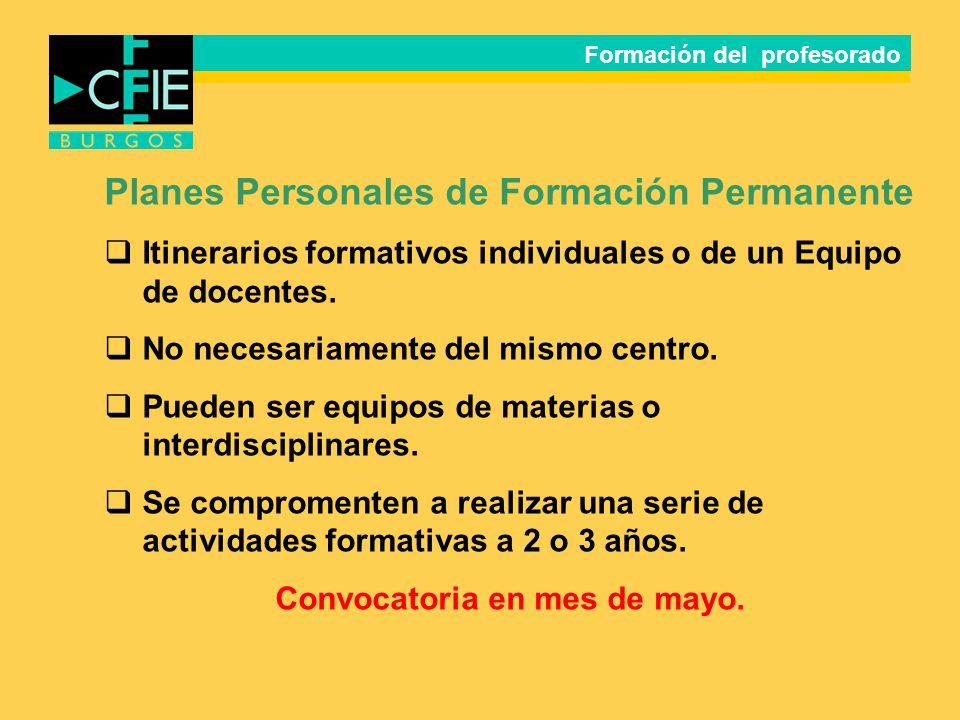 Planes Personales de Formación Permanente Itinerarios formativos individuales o de un Equipo de docentes. No necesariamente del mismo centro. Pueden s