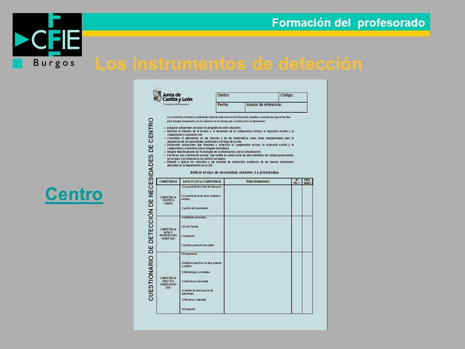 Formación del profesorado Los instrumentos de detección Centro