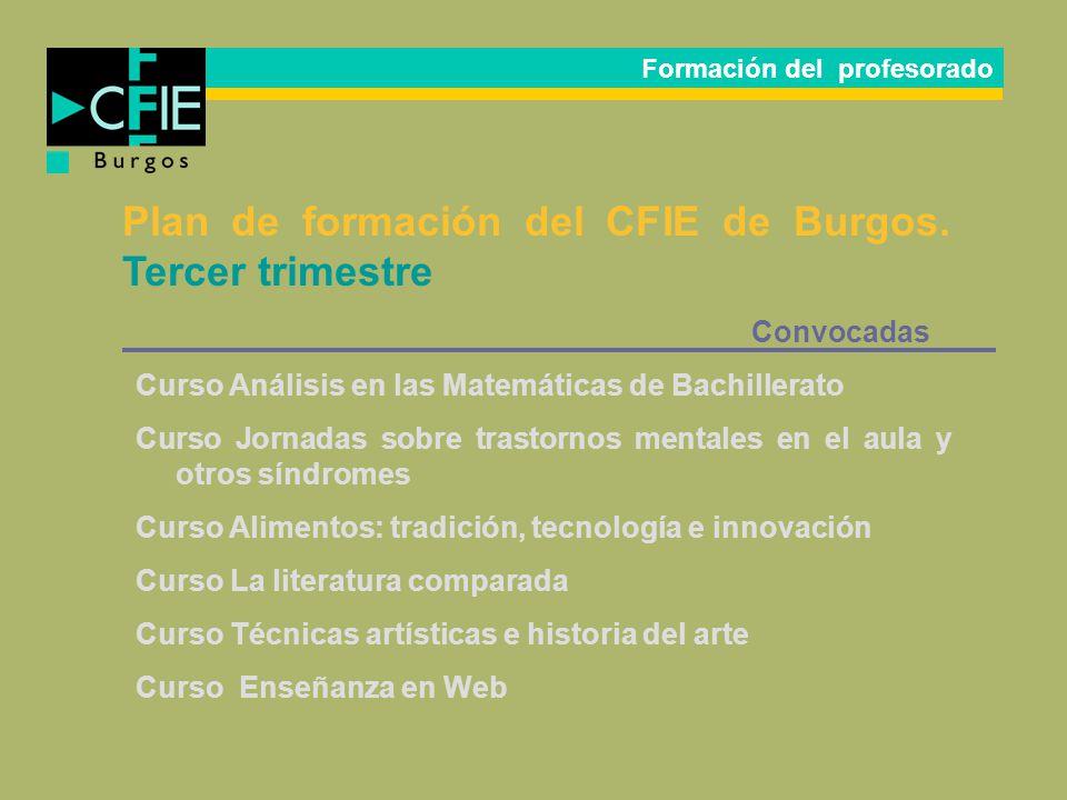 Plan de formación del CFIE de Burgos. Tercer trimestre Convocadas Curso Análisis en las Matemáticas de Bachillerato Curso Jornadas sobre trastornos me