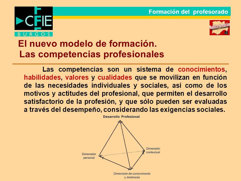 El nuevo modelo de formación. Las competencias profesionales Las competencias son un sistema de conocimientos, habilidades, valores y cualidades que s