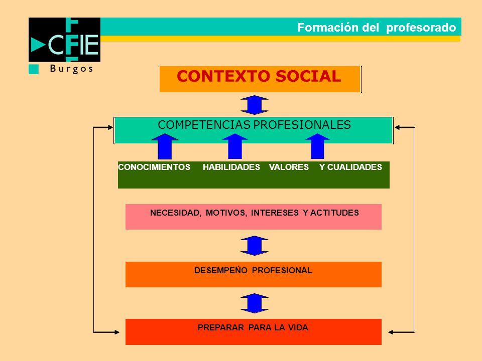 CONTEXTO SOCIAL COMPETENCIAS PROFESIONALES CONOCIMIENTOS HABILIDADES VALORES Y CUALIDADES NECESIDAD, MOTIVOS, INTERESES Y ACTITUDES DESEMPEÑO PROFESIO
