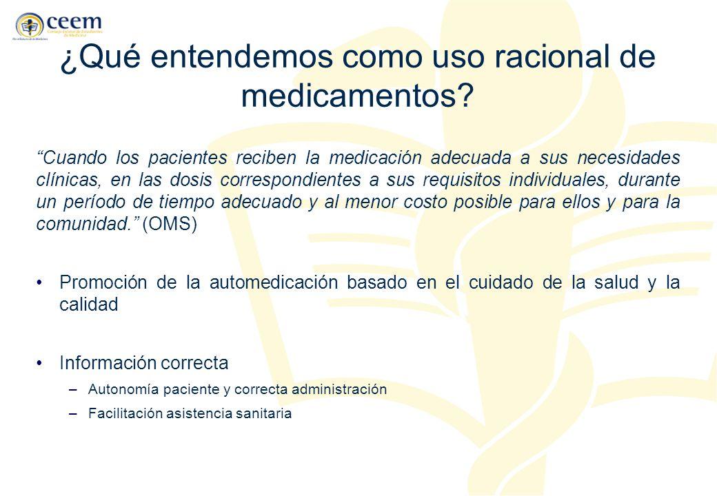 ¿Qué entendemos como uso racional de medicamentos? Cuando los pacientes reciben la medicación adecuada a sus necesidades clínicas, en las dosis corres
